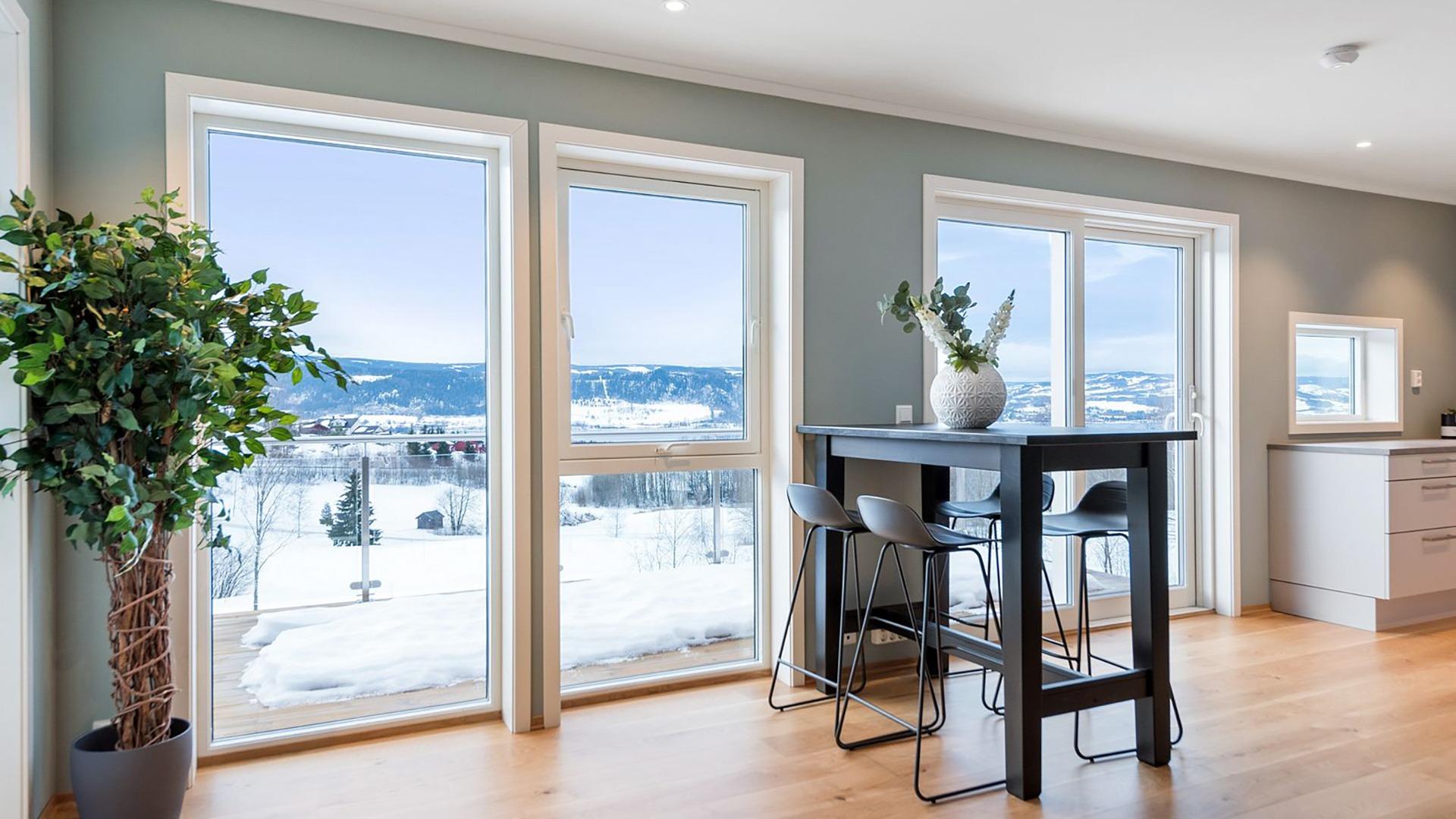 Fra stue og kjøkken får du en fantastisk utsikt til Mjøsa