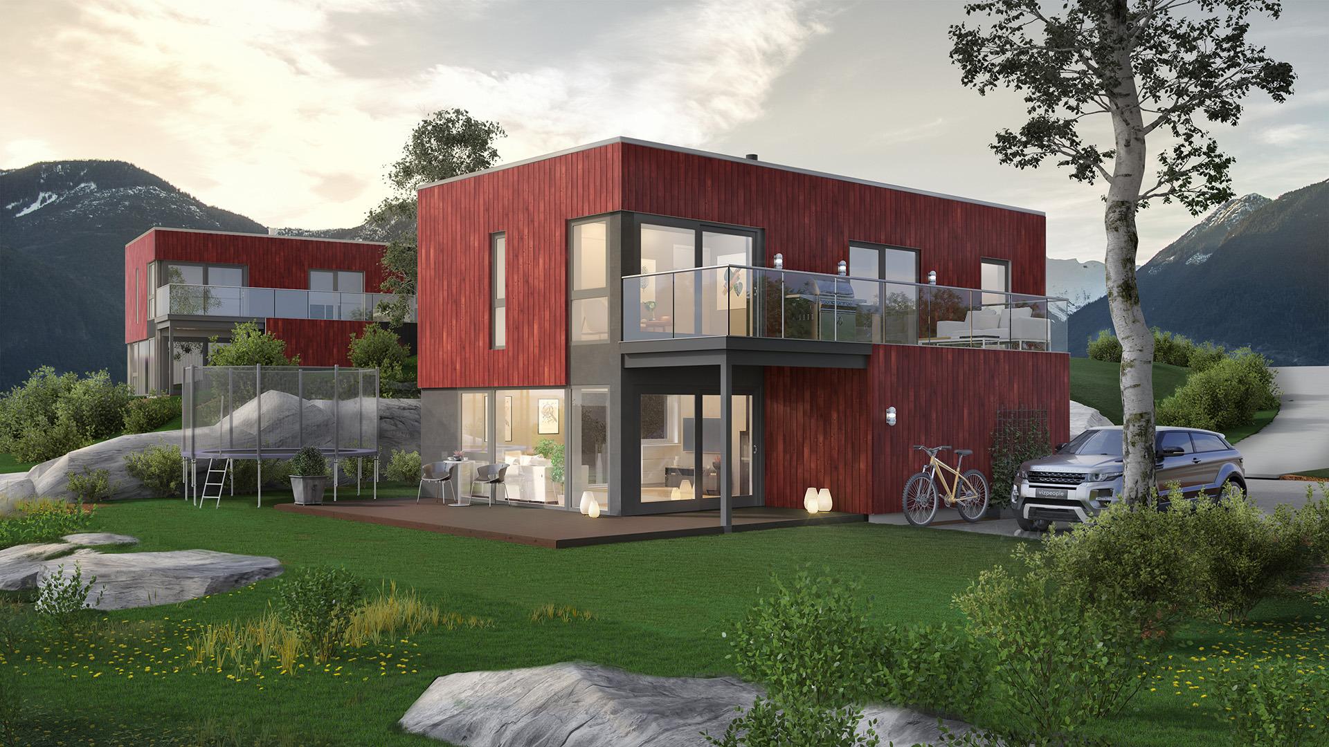 Våg å bruke farger på nye hus!