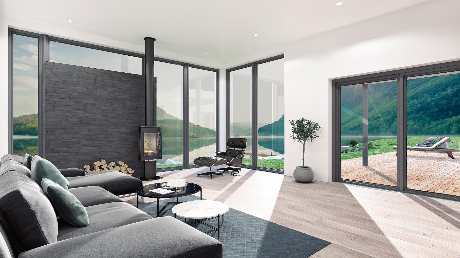 Stor stue, med vinduer fra gulv til tak.