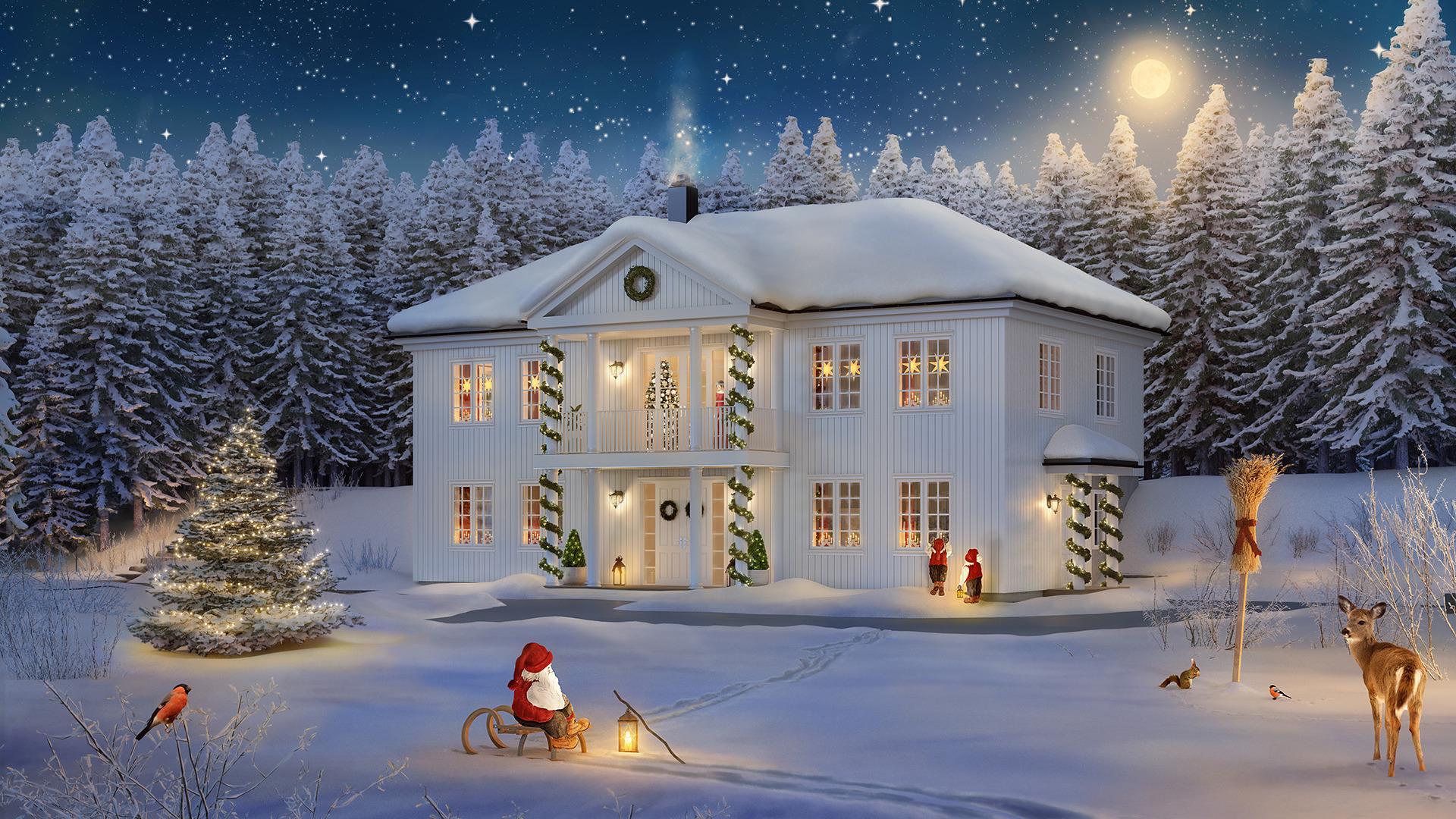 Se for deg å pynte dette huset til juleselskap ?