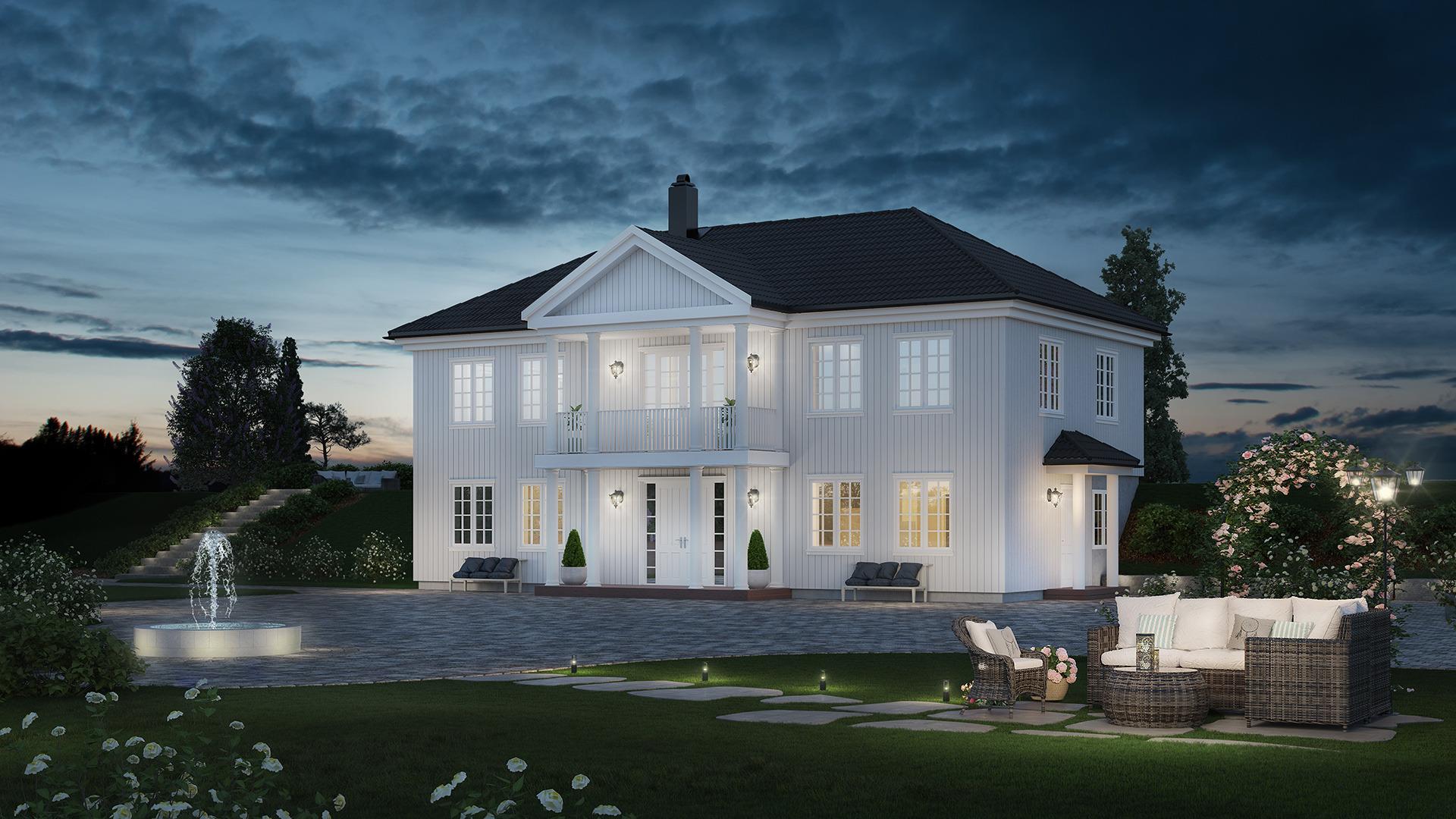 Et herskapelig hjem, med egen uteleiedel.