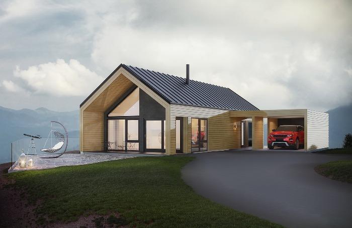 Carporten er forbundet til huset og gir inngangspartiet ly for vær og vind.