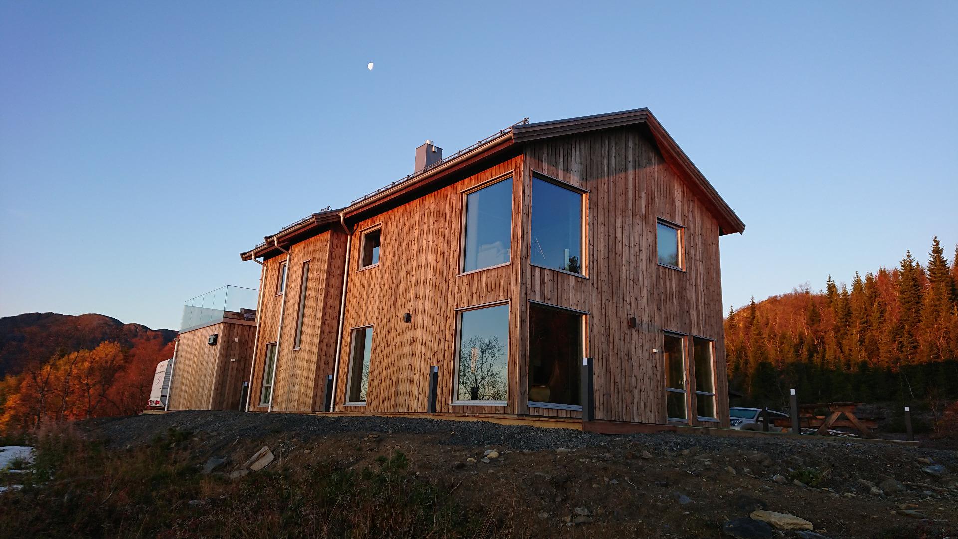 Her er huset bygd med vedlikeholdsfri kledning.
