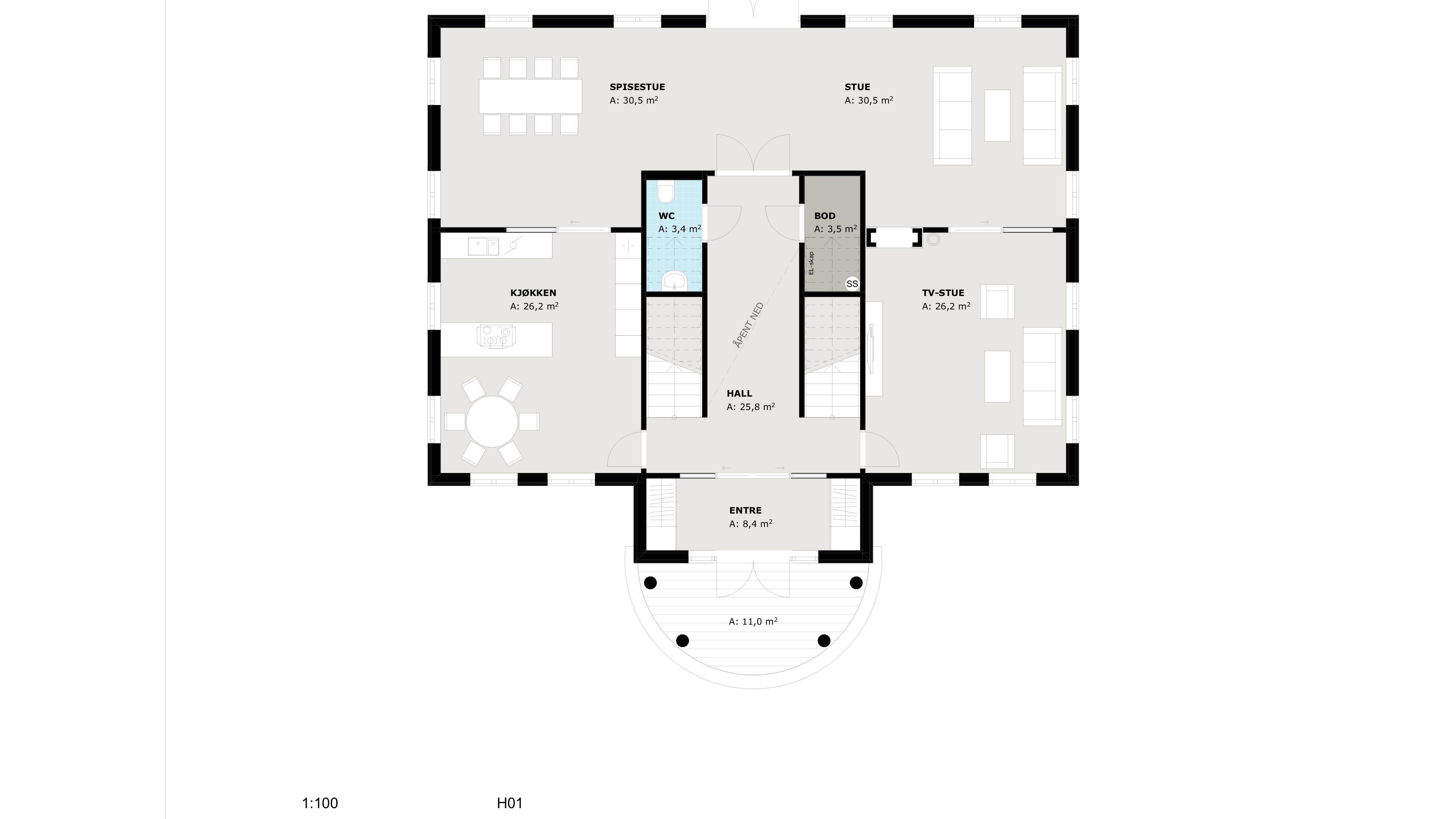 Planløsning første etasje Odel. Lergg merke til den store hallen.