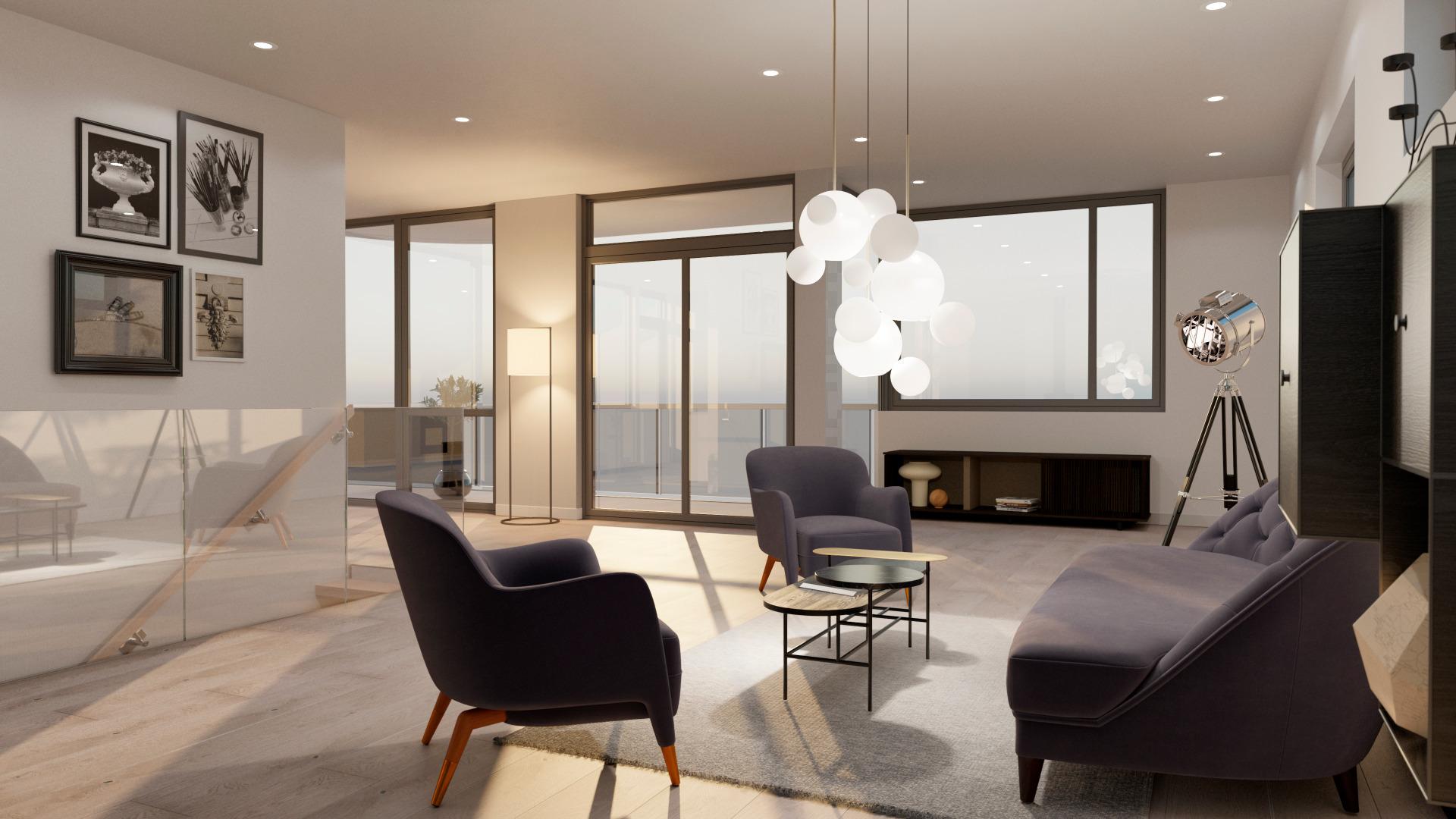 Stue med vinduer fra tak til gulv.