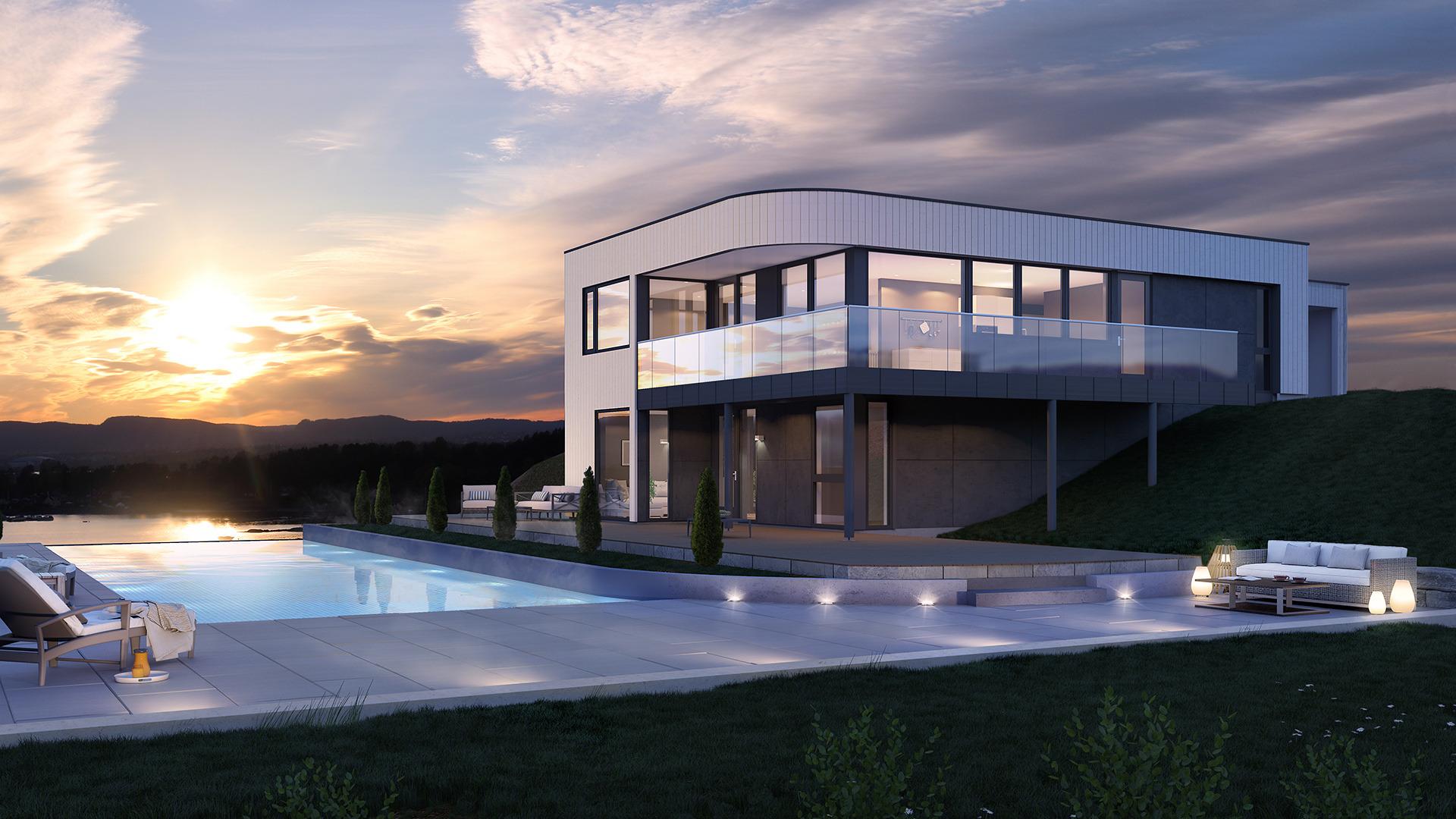 Stilren bolig, med gode utenomhusarealer
