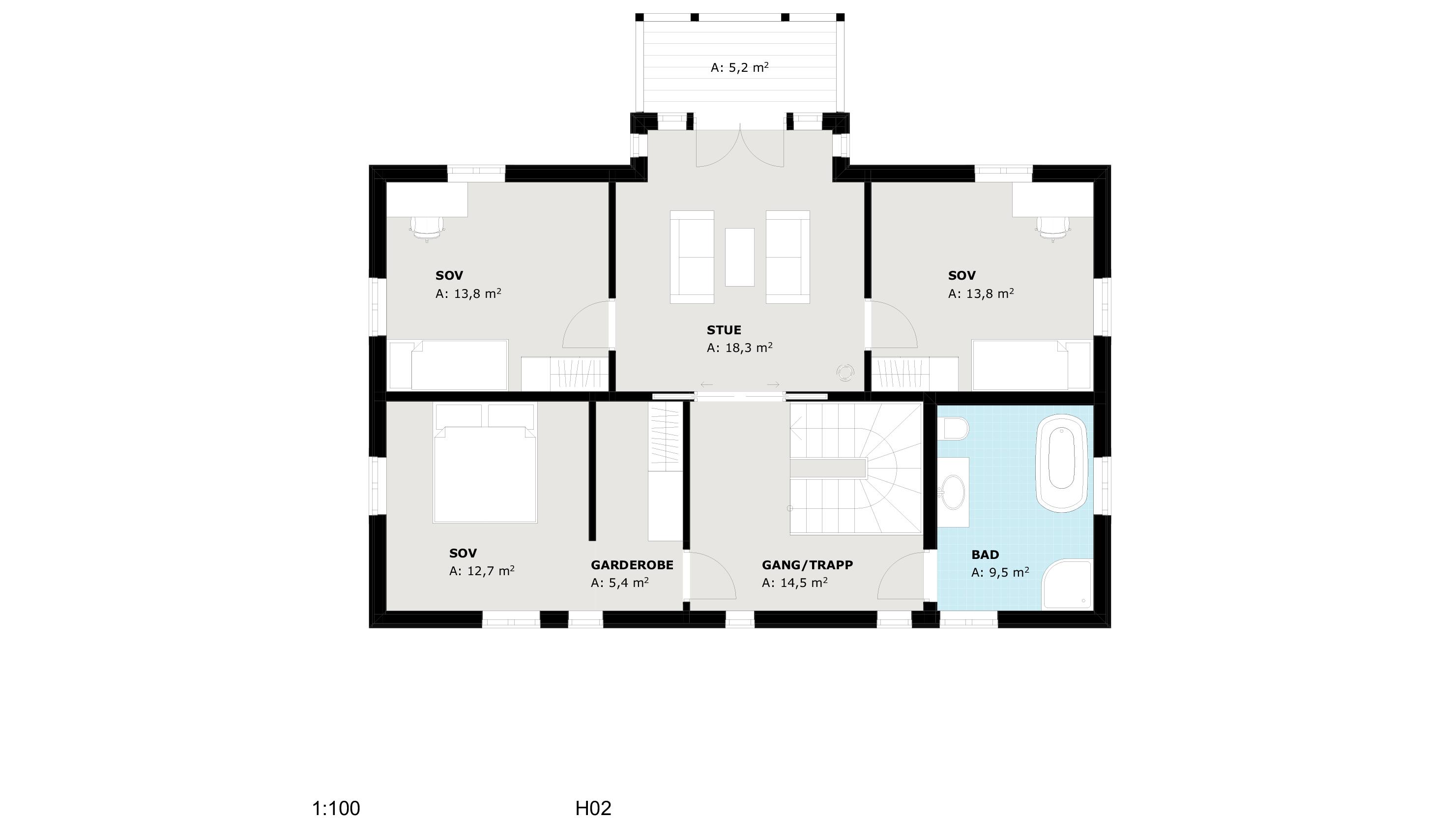 Plantegning 2.etasje sveitserhuset Svalen