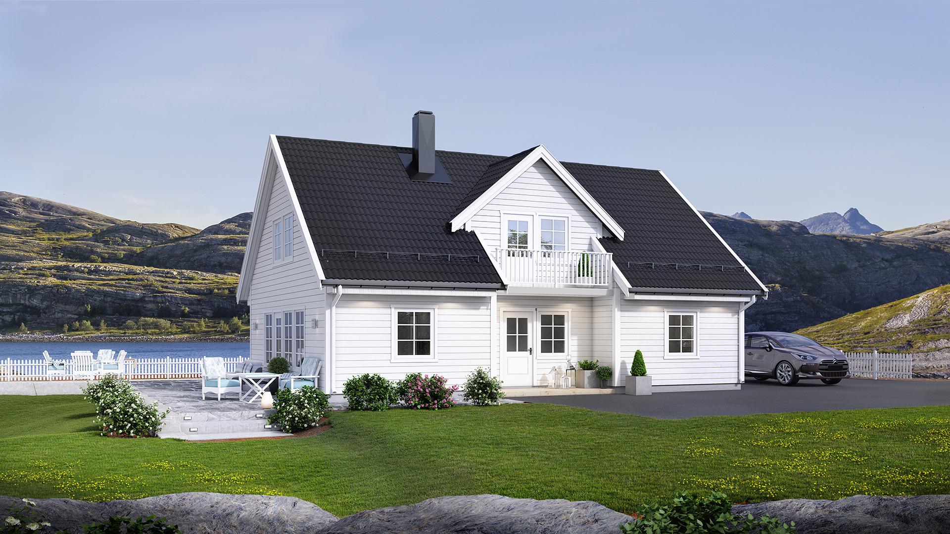 Et klassisk tradisjonellt hus, perfekt for flate tomter