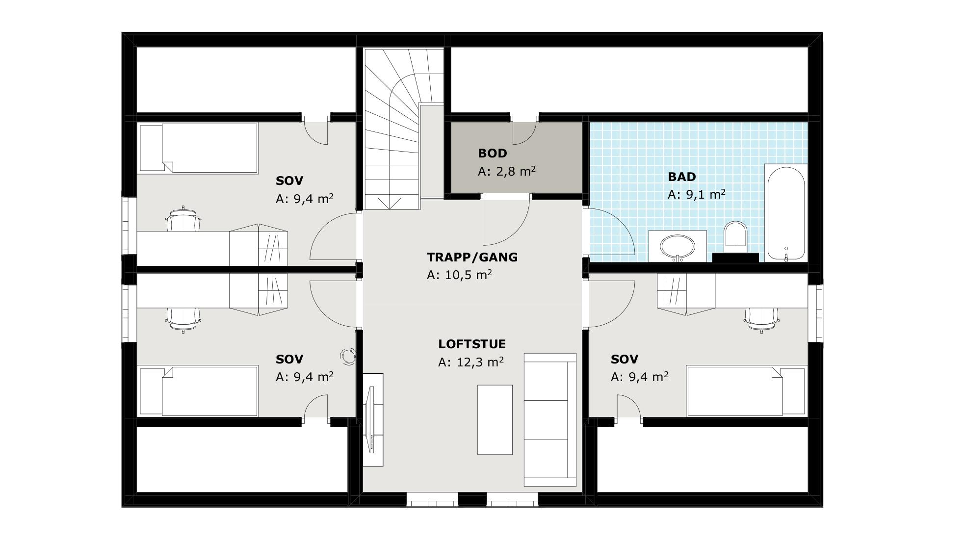 andre etasje Vika, med loftstue og tre soverom pluss eget bad.