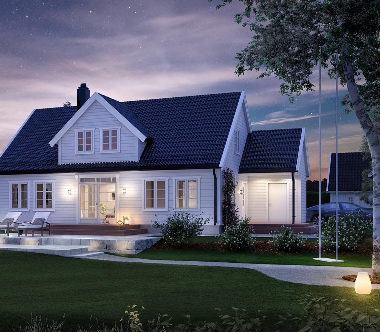 Med riktig utebelysning kan du gjøre Vika til ditt drømmehus.