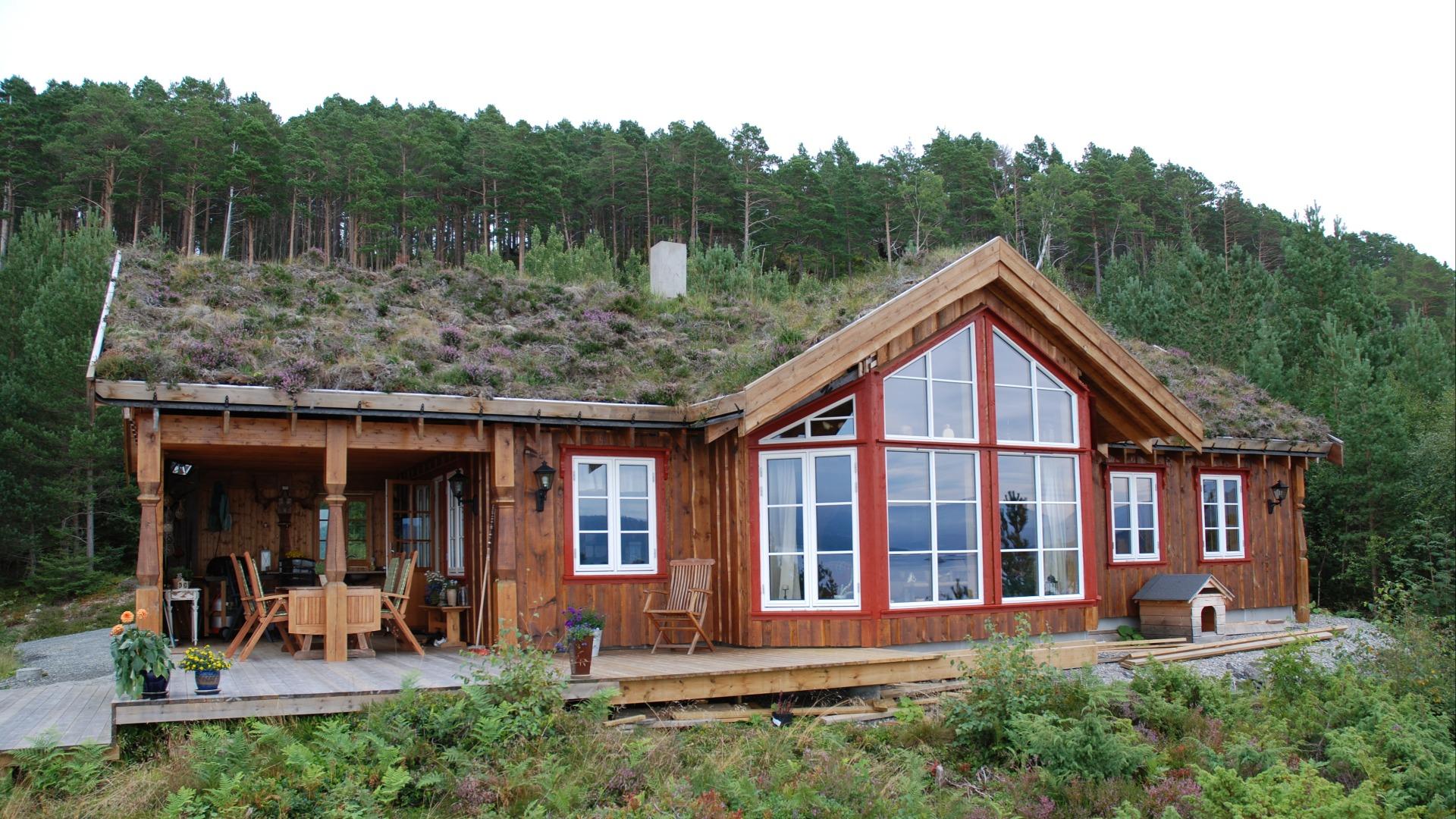 Ei hytte som ligger godt i terrenget