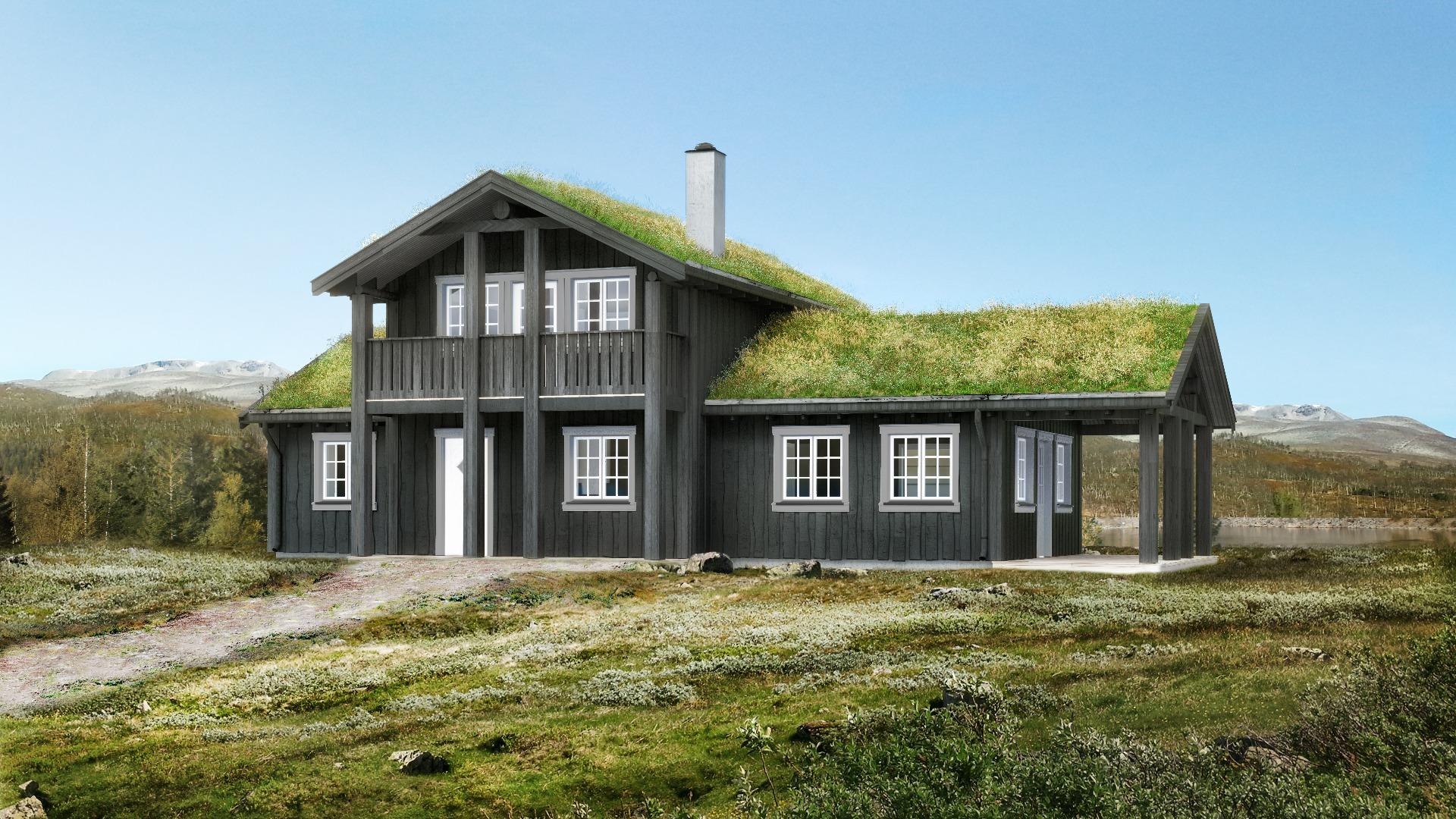 Staselig hytte i tradisjonell stil
