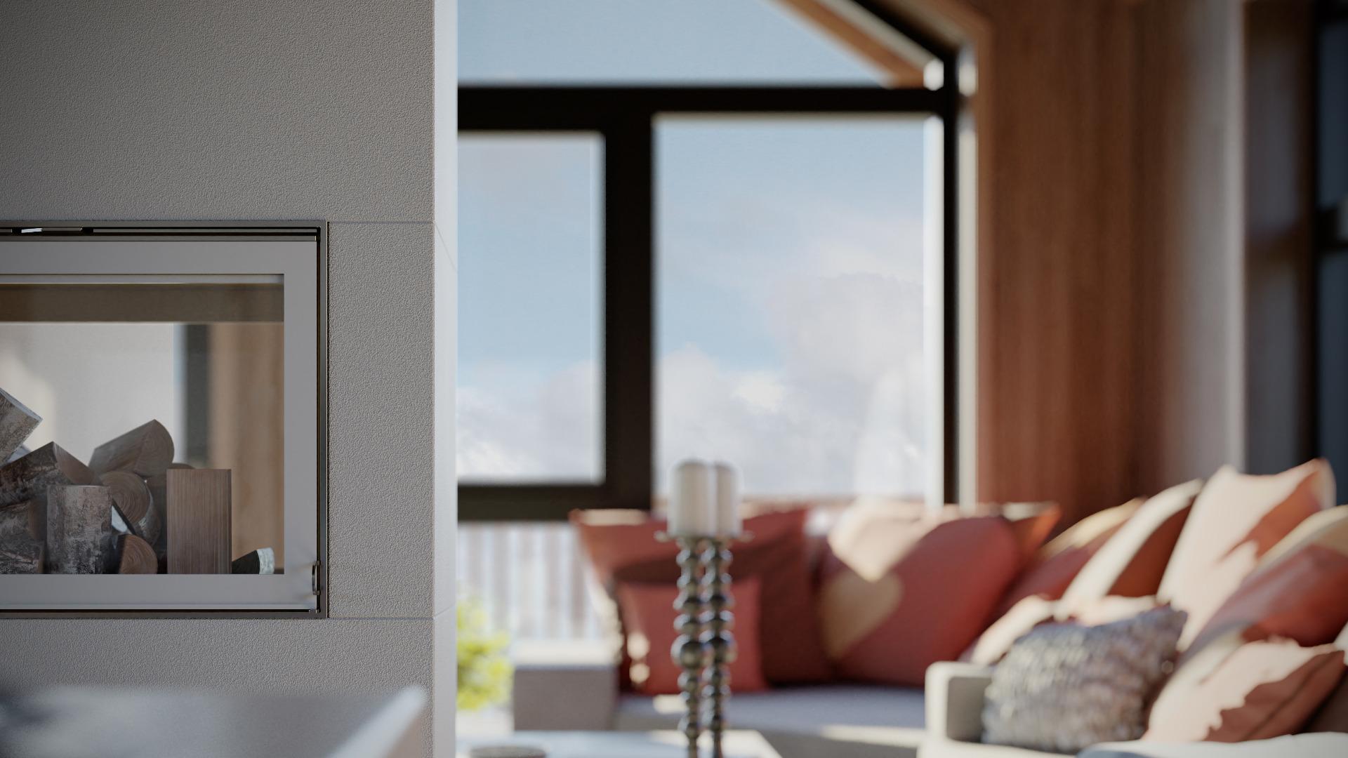 Peisen plassert midt i stua - Illustrasjon: Norgeshus