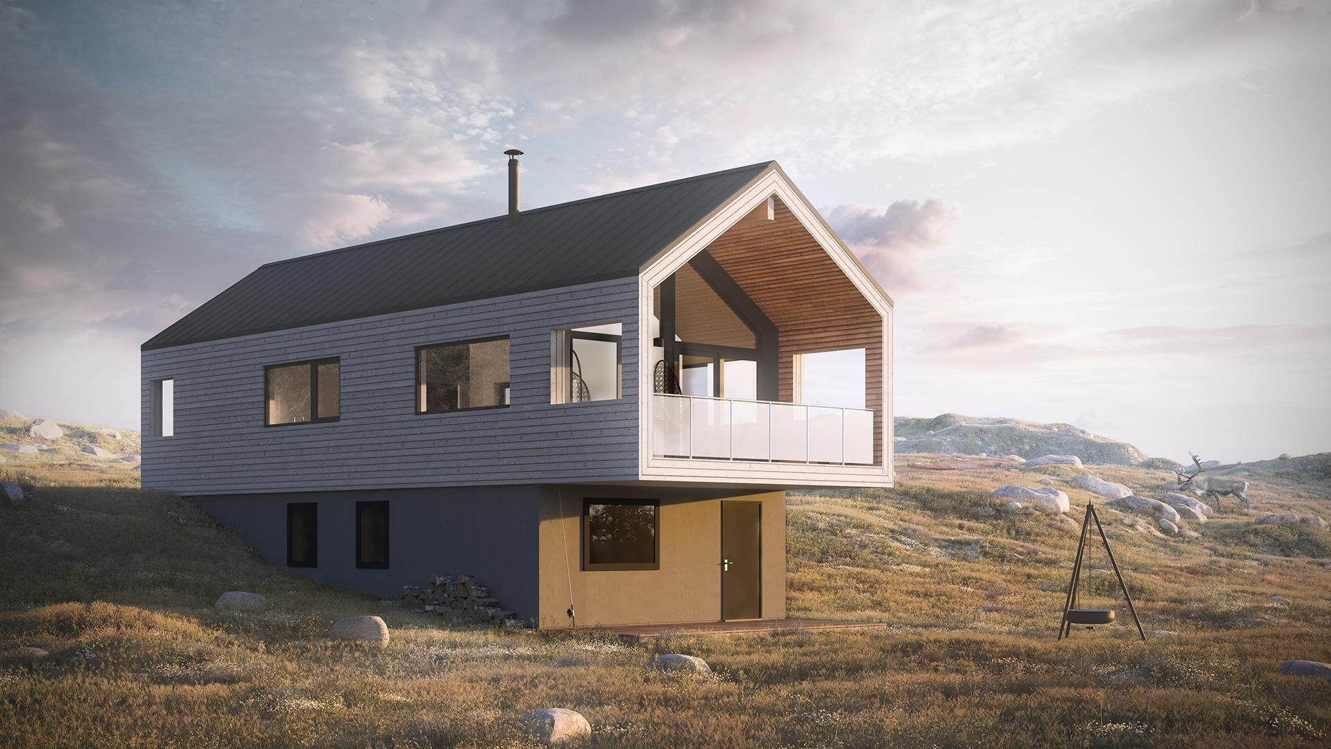 en moderne hytte, perfekt for skrå tomter, med fine detaljer.