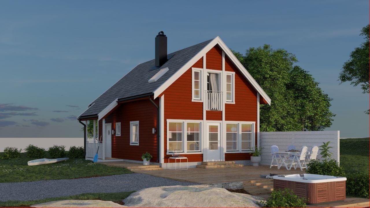 Bruken av vinduer samt terrassedør på gavlveggen skaper nærhet til omgivelsene utenfor.