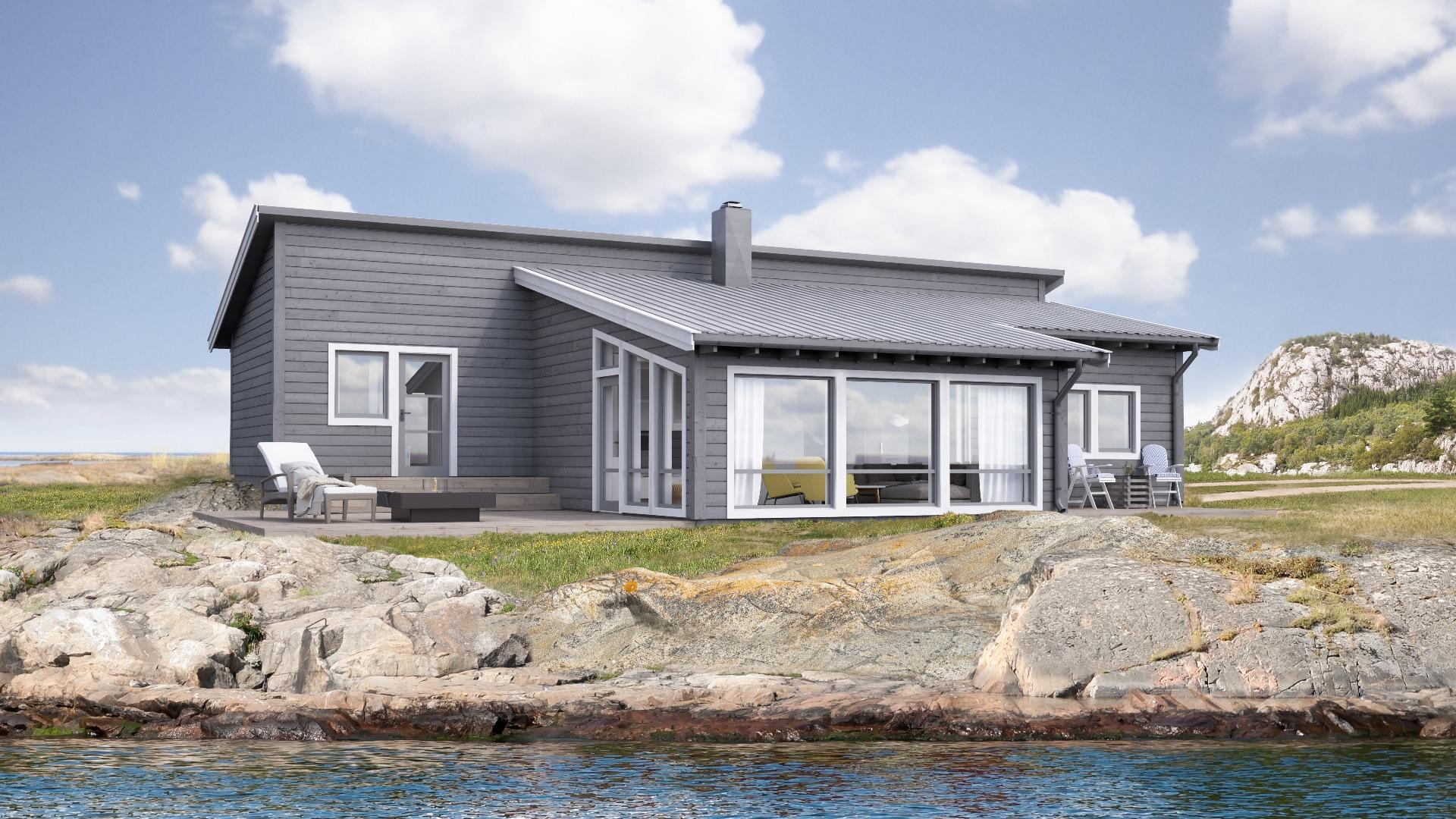Selv om navnet på hytta tilsier at den hører til ved sjøen passer den også fint på fjellet