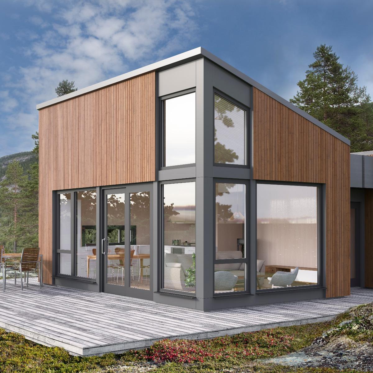 Arealeffektiv hytte med store vindusflater