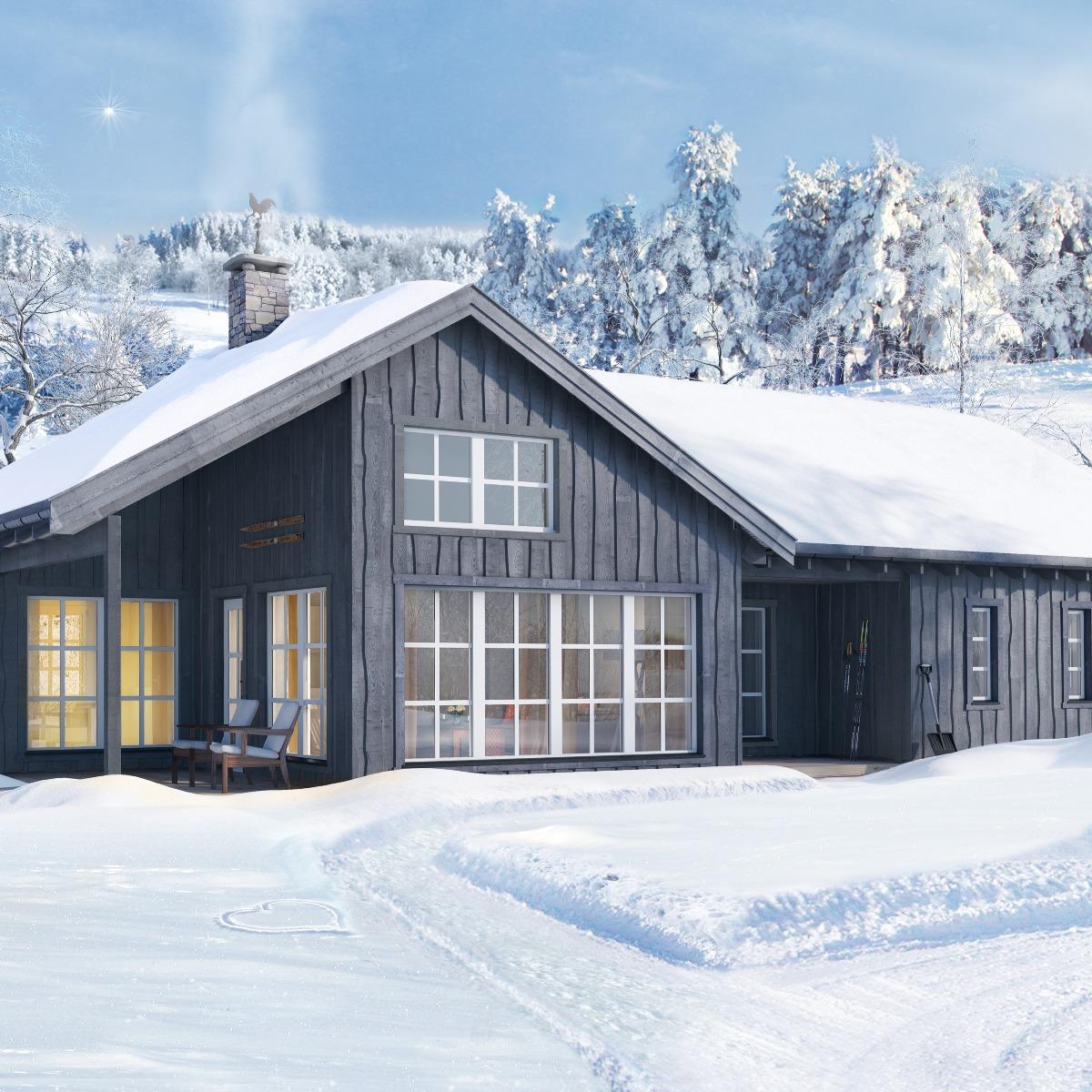 Romslig hytte med gode planløsninger. Stua har åpen himling og store vindusflater