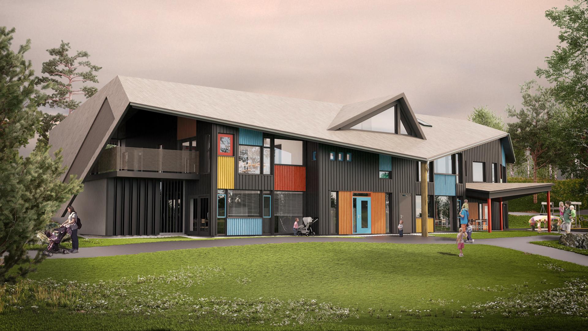Bruhagen barnehage på Averøy. Illustrasjon: Norgeshus