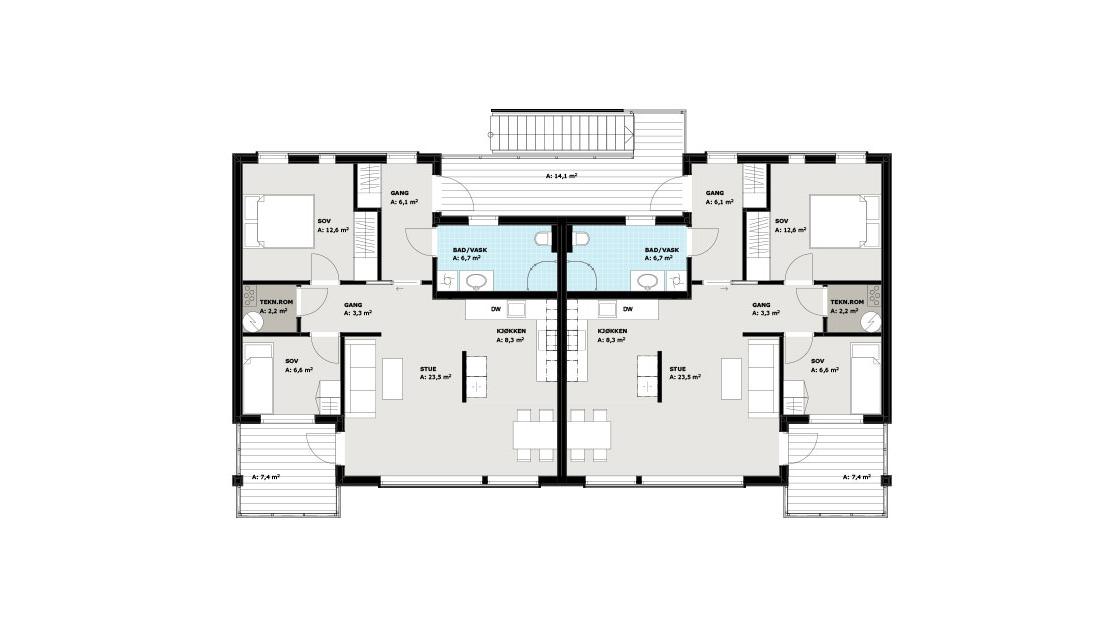 Planløsning for flat tomt, 2. etasje